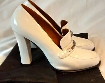 """White Leather Pumps """"Heroes"""" for Versace, made by Cesare Paciotti, size 39"""