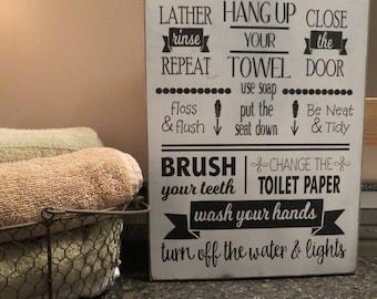 Bathroom Rules Sign / Rustic Bathroom Decor / Bathroom Decor / Brush Your Teeth / Use Soap / Home Decor / Wall Hanging