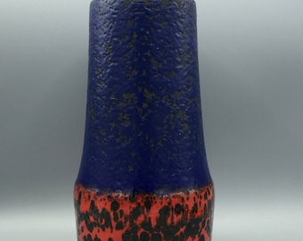 Scheurich Keramik 529 / 25 mat blue, glossy red / black Vintage vase,   made in the  1960s / 1970s in West Germany Pottery. WGP vase.