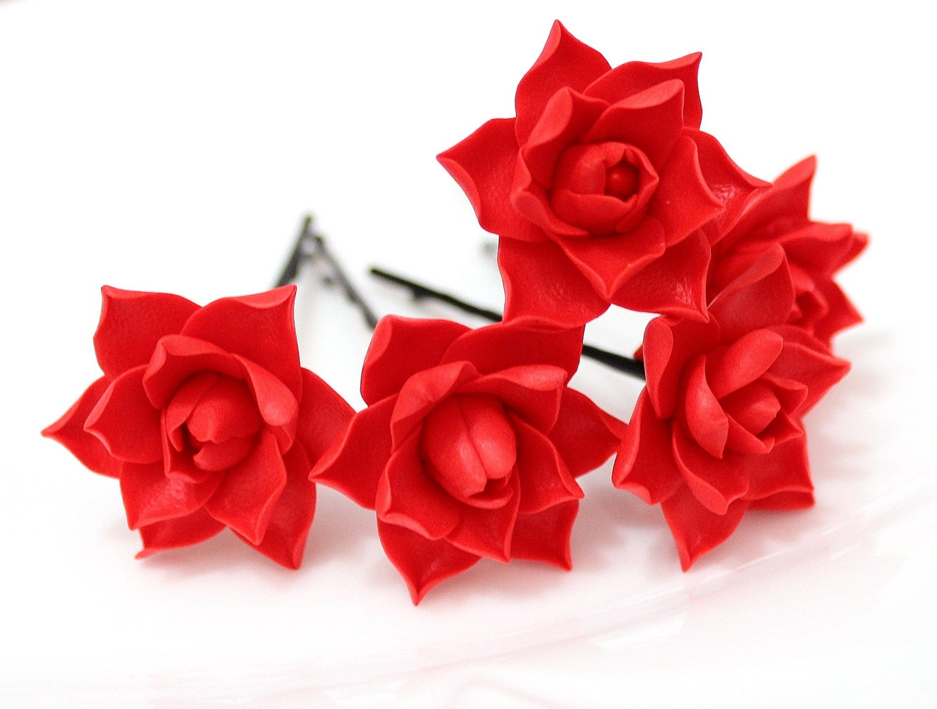 Red Magnolia Flower Hair Clips Flower Accessories Magnolia
