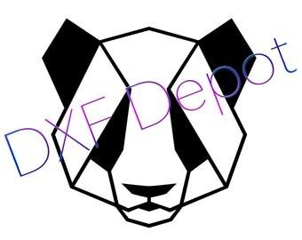 Geometric Panda  .dxf format. CNC Cutting File - Vector Art - DXF File