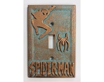 Spiderman - Light Switch Cover - Aged Copper/Patina or Stone