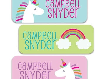 30 Waterproof Name Labels for School, Camp, Daycare.  Personalized Name Labels for Girls, Unicorn Rainbow Design