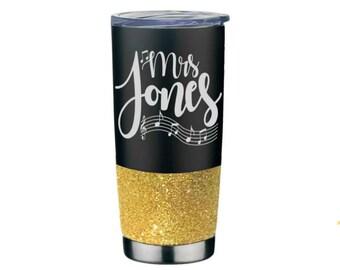 Music Teacher Mug - Piano Teacher Gift - Guitar Teacher Mug - Stainless Steel Glitter Tumbler - Musician Coffee Mugs - Musician Gifts