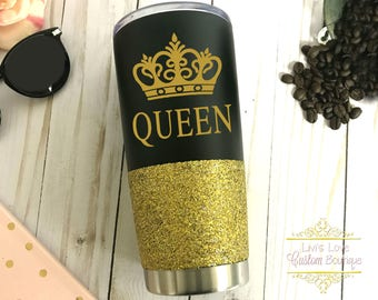Queen tumbler Glitter Dipped Black 20 oz stainless steel tumbler to go cup gift for her princess Queen Mug, Queen Cup, Queen mug queen cups