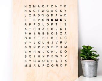 Home Word Search Wooden Print; Housewarming Gift; New Home Gift; House Gift; Gift For Couple; Wood Print; Wood Home Sign; PWS019