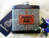 Tweed hip flask Brother of the Bride with leather label, choose any tweed or tartan wedding gift Made in Scotland by Tweed with a Twist