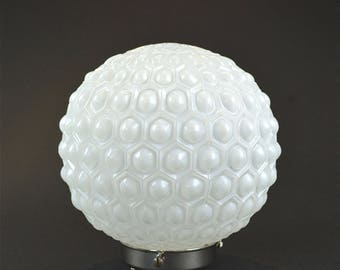 Original Art Deco opaline glass light shade with chrome gallery patterned lamp shade c.1920-30's