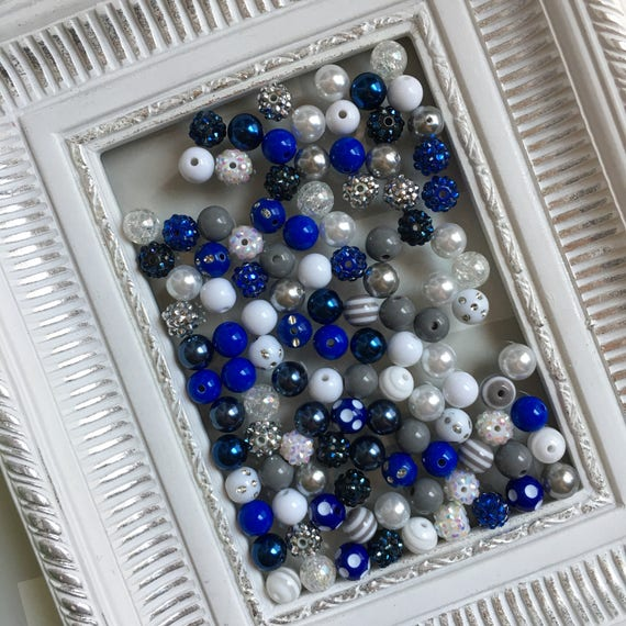 """12mm """"Cowboys: Dark Blue, White, Gray/Silver"""" {100 count}  Chunky Bubble Gum Bead Wholesale Bulk Bead Lot for Necklaces or Bracelets"""