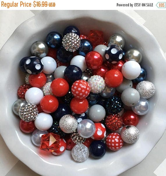 """SALE 100 {20mm} """"Patriots/Giants: Navy, White, Red, & Gray""""  Chunky Bubble Gum Bead Themed Bead Lot **Read Item description before purchase!"""