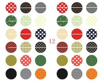 108 # 36 digital designs/Images for cabochon 12mm round colored dots