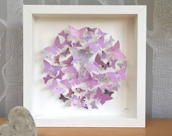 Personalisable lilac lavender 3D butterfly wall art - 3D small picture