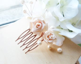 Small romantic comb pink cold porcelain