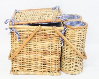 Vintage Picknickkorb Maritim Strand Tasche blau weiß Wicker Weinträger Korb Weidenkorb