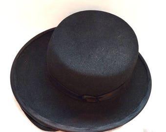 ON SALE: Cute Vintage Flat Hat or Mini Hat - Avalon, Black Wool, Child's Hat?