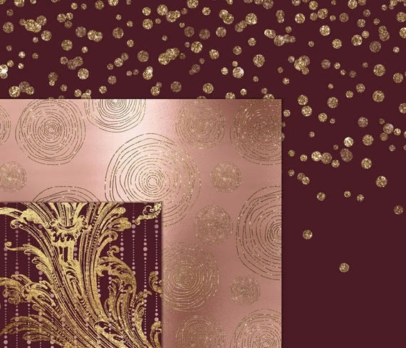 Burgundy And Rose Gold Digital Paper, Ivory And Gold