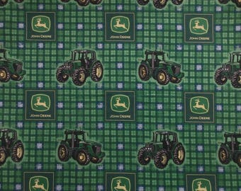 John Deere Fabric - Plaid Tractor 23486 - Spring Creative Products - Quilters Cotton -  1 Yard Only