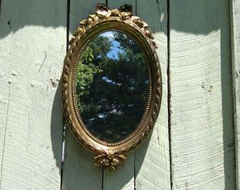 Vintage Gold Mirror, Vintage Home Interiors Mirror, Made In USA, Ornate Gold Mirror, Decorative Gold Mirror