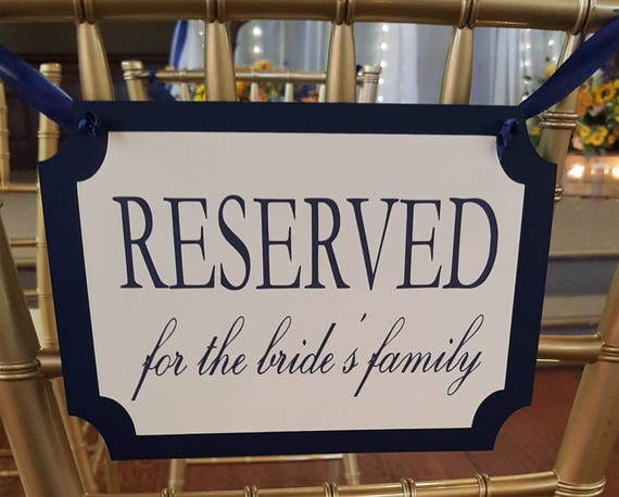 Items Similar To Wedding Reserved Signs