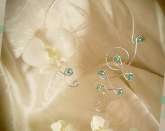 Orchid jewelry set earrings and necklace to customize