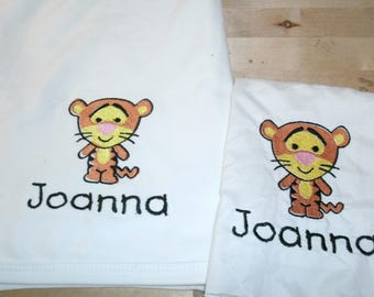 Baby Tigger Personalized Infant Toddler Baby Blanket & Bib Set Any color