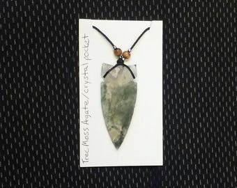17 This Beautiful Handcrafted knapped, Tree Moss Agate with Crystal pocket Arrowhead Point necklace . Would make a great gift or to keep.