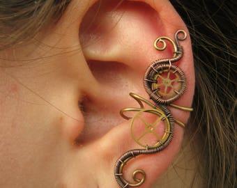 steampunk ear cuff, steampunk jewelry, steampunk earring, wire wrapped ear cuff, wire wrapped earring, victorian steam punk - STRANGE DREAMS