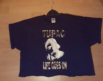 Vintage  womens hip hop,tupac crop top tshirt ,musical,rapper,