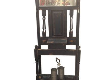 Tall Black Distressed Hall Tree/Accent Chair/Entry Chair