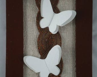 Tableau002 - Table Brown and white embossed butterflies