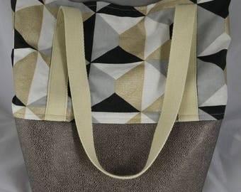 Sac022 - Black, gray, white and gold geometric Tote handbag