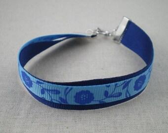 Bra077 - Double Bracelet blue flowers Ribbon