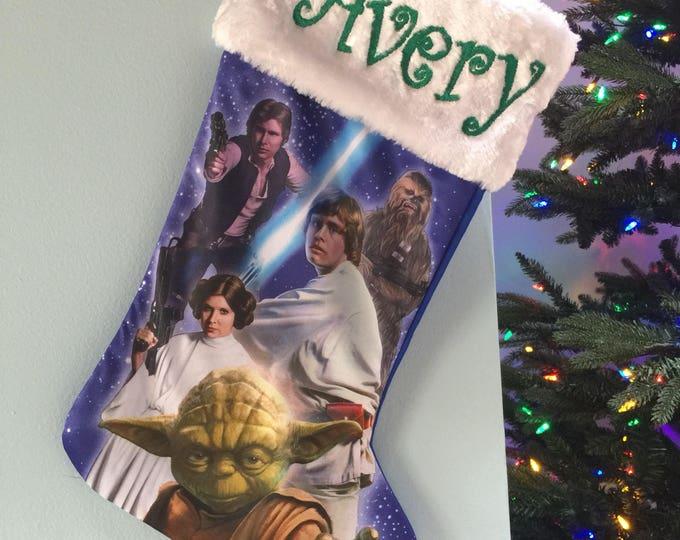 Star Wars YODA Leia Hans Luke Chewbacca Christmas Stocking 20 inch Satin with Plush Cuff - Personalized