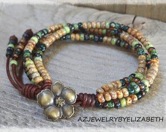 Seed Bead Wrap Bracelet/ Seed Bead Bracelet/ Seed Bead Leather Bracelet/ Boho Chic Bracelet/ Beaded Leather Bracelet/ Bohemian Bracelet.