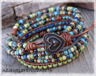 Seed Bead Leather Bracelet/ Seed Bead Leather Wrap Bracelet/ Boho Beaded Leather Wrap/ Gift For Her/ Leather And Seed Bead Wrap Bracelet**