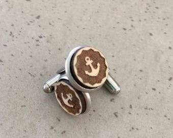 Cufflinks - Timber cufflinks - Laser engraved cufflinks