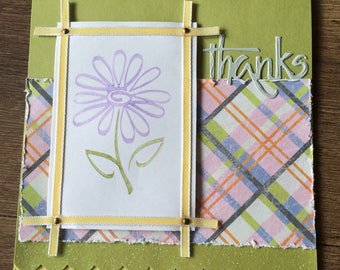 Thanks You're the Best Square Handmade Greeting Card, Thank You Card, Flower Greeting Card, Stampin' Up supplies, handmade paper from India