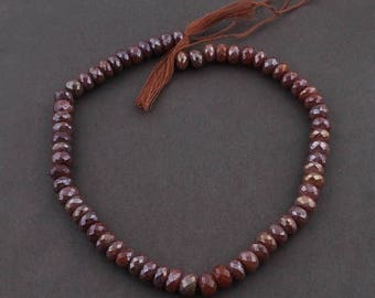 Valentines Day 1 Strand Chocolate Moonstone Silver Coated Faceted Rondelles - Roundle Beads 9mm 14 Inches SB3411