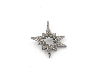 Special Sale 1 PC Pave Diamond Star Bust 925 Sterling Silver  Charm  Pendant  24MM PDC1399