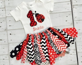 Personalized Glitter Ladybug First Birthday + Fabric Tutu Outfit - Polka Dot One 1