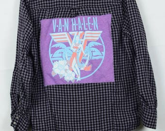Upcycled Flannel with Van Halen