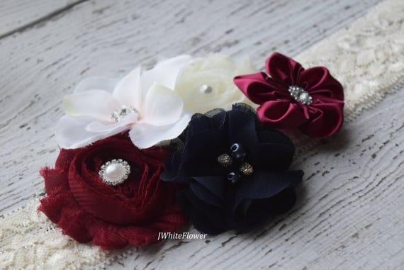 Burgundy ivory navy Shabby Flowers Baby Headband, Newborn Headband,  Infant Headband,Baby Headband, Headband Baby