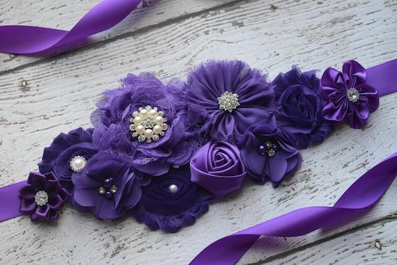 Maternity sash belt,purple Sash , sash,  flower Belt, maternity sash, baby shower gift