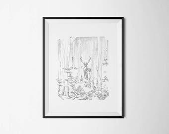 The deer in the Woods - print