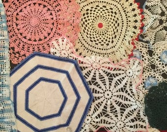 Lot of 26 Vintage Crochet Doilies - Colored A3