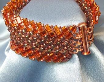 Gazania-Herringbone Woven Beaded Bracelet