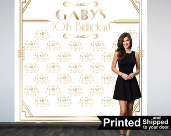 Great Gatsby Party Personalized Photo Backdrop -Roaring 20's Step and Repeat Photo Backdrop- Birthday Photo Booth Backdrop, White & Gold