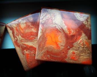 Handmade Ceramic Fluid Art Resin Art Coasters