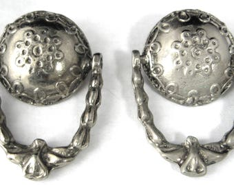Antique Button Pair Pewter Door Knockers Moveable UK 1900-1920 Embossed Moveable Edwardian