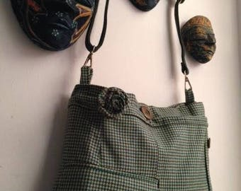 green bag with front pocket